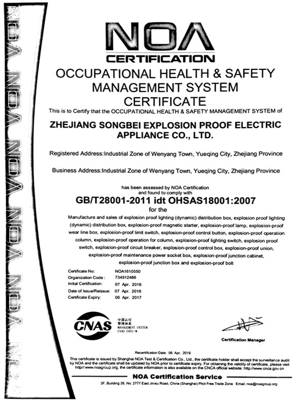Certificate-Songbei Explosion-Proof Electric Co , Ltd